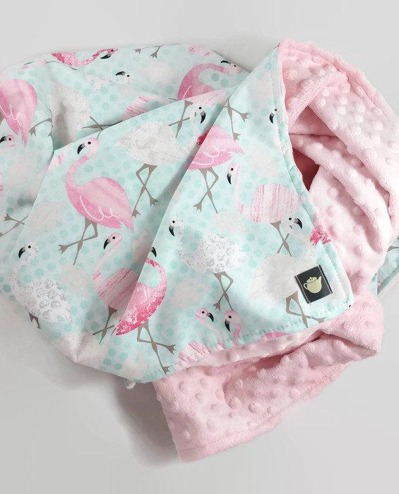 Flamingo Baby Blanket Minky Baby Blanket Modern Baby