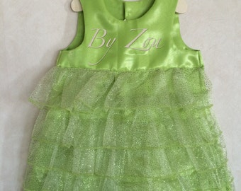 Ceremonial dress girl ruched sequined inspiration Tinkerbell dress
