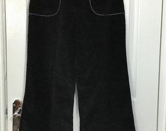 1970s Junior Miss Black Corduroy St Michael Flares Flared Trousers UK 8 30 Leg