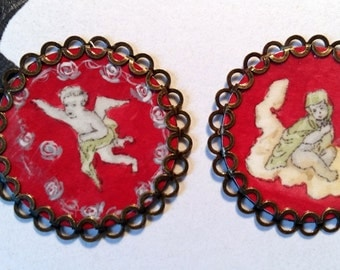 6 Buttons with Rococo Putti diameter 30mm 1775 french, miniatures, justacorps, redingote