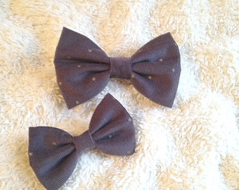 Navy and Gold Dotted Bow