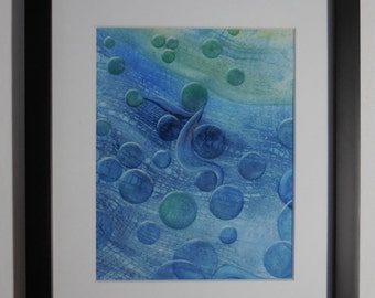 Original painting, water color, floating bubbles, abstract