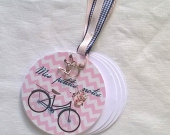 Round pocket notebook bicycle + charm + gift bag