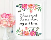 Song Of Solomon 3:4, Wedding Sign, Bible Verse, Printable Art, Wedding Printable, I have Found The One Whom My Soul Loves, Scripture Prints