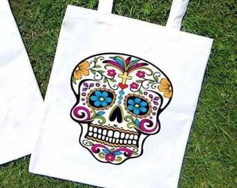 Funky colour skull tote bag