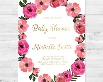 Baby Shower Invitation Girl, Floral Wreath Baby Shower Invitation, Pink And Gold Baby Shower Invitation