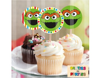 50% OFF - Oscar the Grouch sesame street cupcake toppers, Oscar Sesame Street birthday party supplies, sesame street label, labels