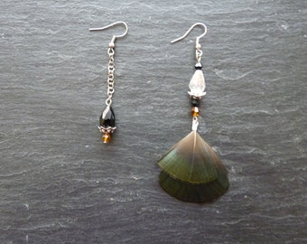 Earrings natural feathers of Golden Pheasant and beads - asymmetric - magic of a night