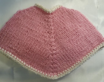 """18"""" Doll Poncho- Pink with white trim"""