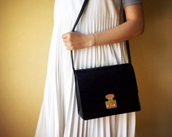 Black Leather Cross Body Bag / Shoulder Bag with Gold Lock