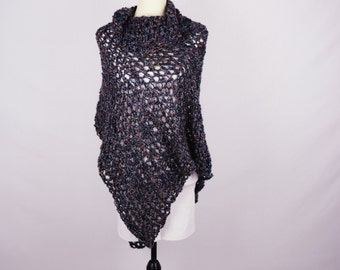 Poncho Crochet - Classic Piece in Jewel Tones with Cowl Neck