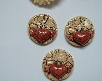 3 handmade buttons 30 mm heart in enamelled ceramic