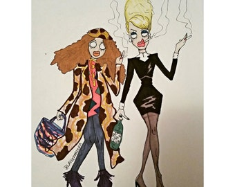 Absolutely fabulous drawing print patsy and eddie