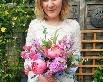 Made to order Mixed Country Garden Artificial Wedding Bouquet- Including Sweet Peas, Cornflowers, Lavender