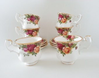 Royal Albert Old Country Roses Set of 6 Small Tea/Coffee Cups & Saucers