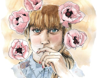 printing, portrait illustration wife, pink tremiaires
