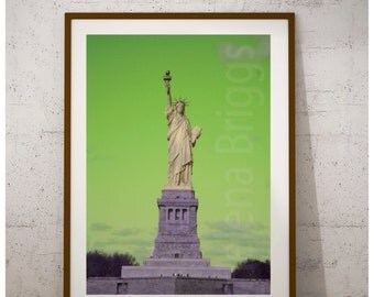 Statue of Liberty Green | Manhattan Skyline, America, Lady Liberty, NYC, New York City, Photo, Photography, Picture, Poster, Print, Wall Art