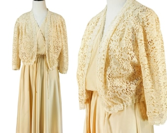 70's Vintage Cream Two Piece Ruched Disco Poly Dress Matching Lace Cropped Jacket
