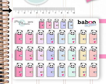 Kawaii Panda Stickers Cute Panda Stickers Flags Stickers Planner Stickers Hand Drawn Stickers Functional Stickers Decorative Stickers NR779