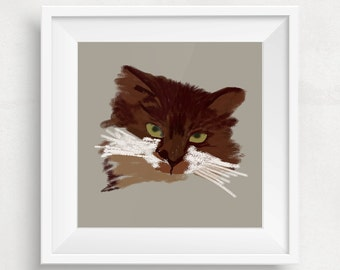 Personalised pet cat portrait Custom cat portrait Individual cat portrait