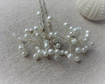 Hairpin large pic bun Pearl silver for wedding hairstyle