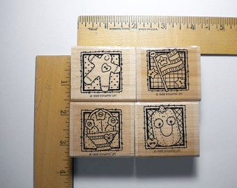 Stampin' Up Stamp Set - Seasonal Patches, wood-mounted, retired, discontinued, 1999  -  pay it forward, multi media rubber stamp