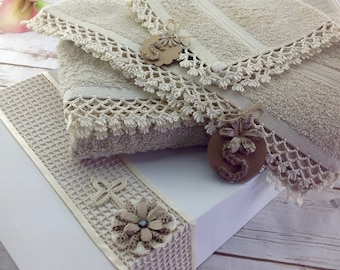 In-Stock! Decorative Handmade Towel 3-pc Gift Set With Box