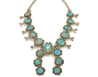 Vintage Southwestern Squash Blossom Necklace Sterling Silver Turquoise, Unsigned