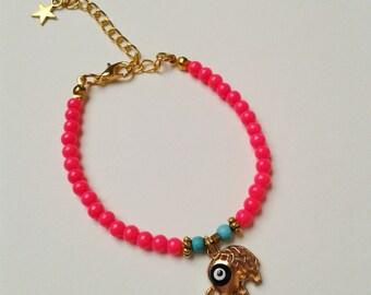 elephant pink Evil eye bracelet, beaded bracelet, boho, bohemian, boho chic bracelet bracelet bracelet, bracelet stack, beaded bracelet