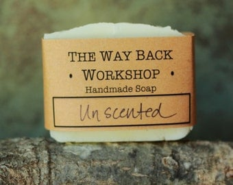 Unscented Handmade Cold Process Soap, Vegan