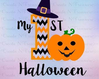 My First Halloween svg, 1st Halloween svg, Baby Halloween svg. Cutting file for Silhouette and Cricut.  Cut files in SVG, DXF, PNG.