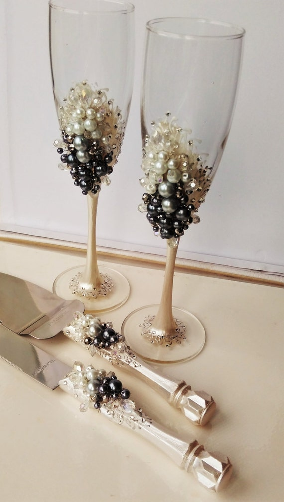 Personalized Wedding Flutes And Cake Server Set White Grey Wedding