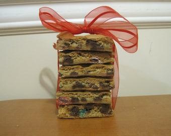 One dozen M&M chocolate chip cookie bars, cookie bars, bars, chocolate chip bars