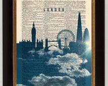 London Skyline poster, London Cityscape England, Vintage book art print, Dictionary art print, Wall art, Home Wall Decor, Home art [ART 005]