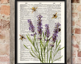 Lavender with Bees, Dictionary art print, Kitchen decor, Flowers print, upcycled dictionary page, Home Wall Decor, Botanical print [ART 065]