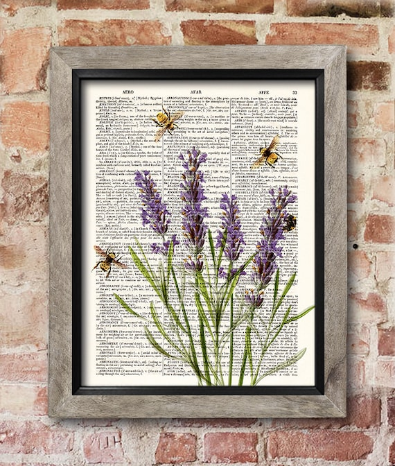 Kitchen Dictionary: Lavender With Bees Dictionary Art Print Kitchen Decor