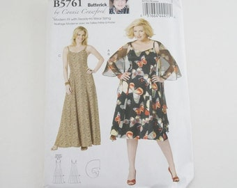 Uncut Butterick B5761 Womens Wrap and Dress Floral Paper Sewing Pattern by Connie Crawford Size Xxl, 1X, 2X, 3X, 4X, 5X, 6X