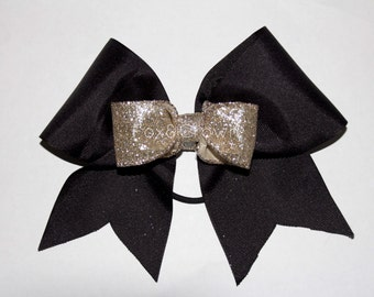 Black & Champagne Cheer Bow