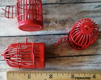 3 piece 2 inch Red bird cages