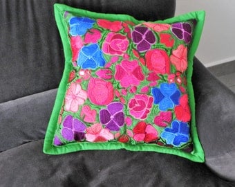 Embroidered pillow cover Green