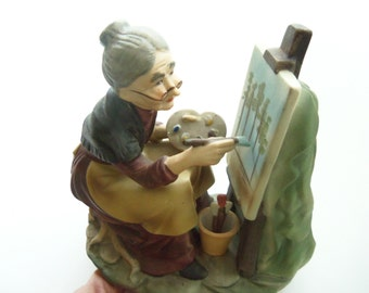 Porcelain Artist Figurine - Lady Painting Canvas