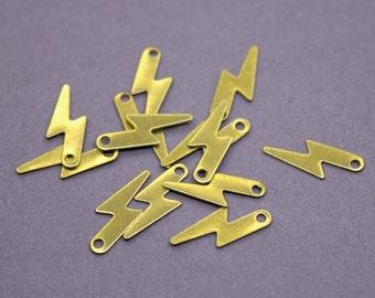 50 Raw Brass Lightning Charms 14x5mm | Gold Lightning Charms, Gold Flash Charms, Brass Flash Pendant, Raw Brass Lightning