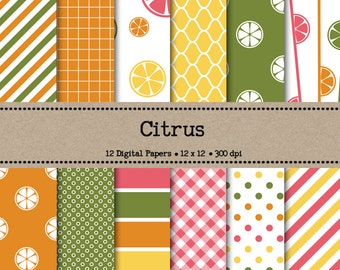 Citrus Digital Paper Pack