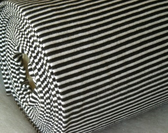 Striped rib smooth, black and white, GOTS