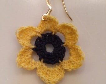 Black Eyed Susan Crochet Flower Earrings