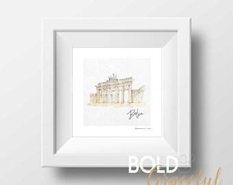 Berlin Print / Berlin Art / Brandenburg Gate / Berlin Cityscape / Germany / City Art / Travel Print / Travel Poster / Digital download