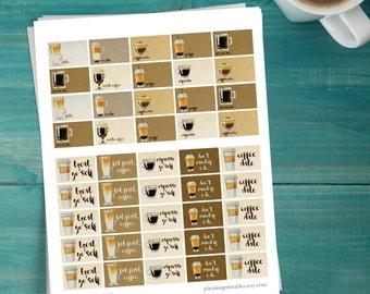 Coffee Lover - Printable Planner Stickers - Erin Condren Vertical - Happy Planner - Coffee Fan - But First Coffee - Espresso - Mocha - Latte