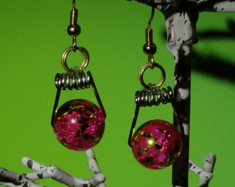 Unique Pink and Gold Glass bead Earrings