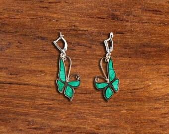 Butterfly earrings mosaic malachite green