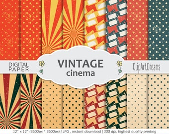 Vintage cinema Digital Paper, Vintage glasses digital paper, Vintage Paper for Digital Scrapbooking, polka dots stars Vintage background
